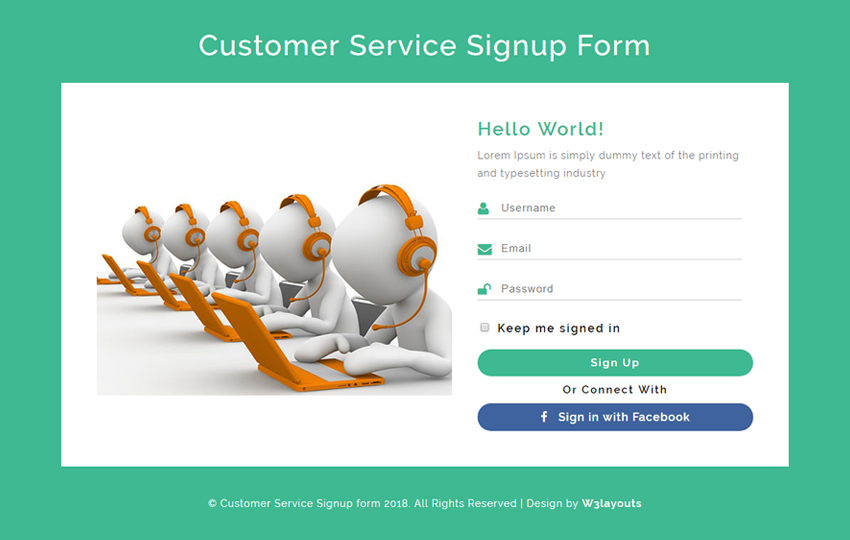 Customer Service Signup Form Responsive Widget Template