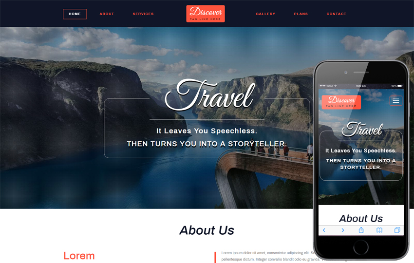 Discover Travel Category Bootstrap Responsive Web Template