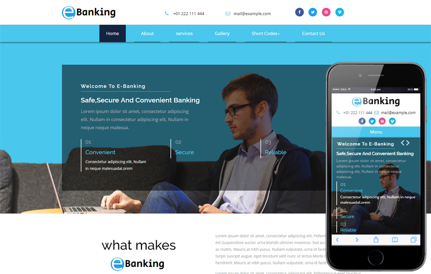 E-Banking a Banking Category Bootstrap Responsive Web Template