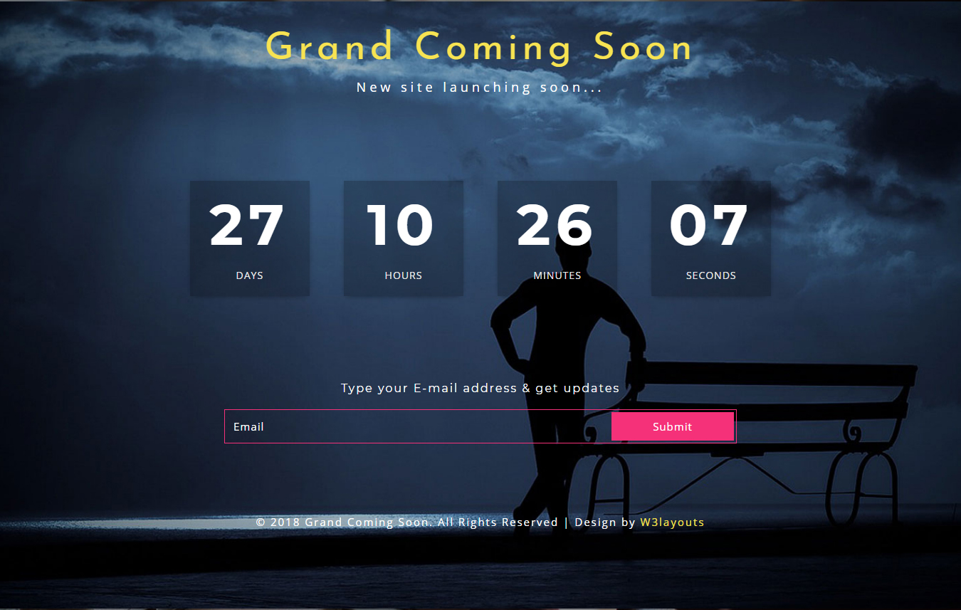 Grand Coming Soon Responsive Widget Template