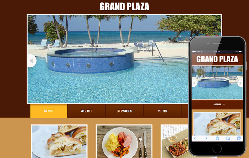 grand plaza web template and mobile template for restaurants and hotels