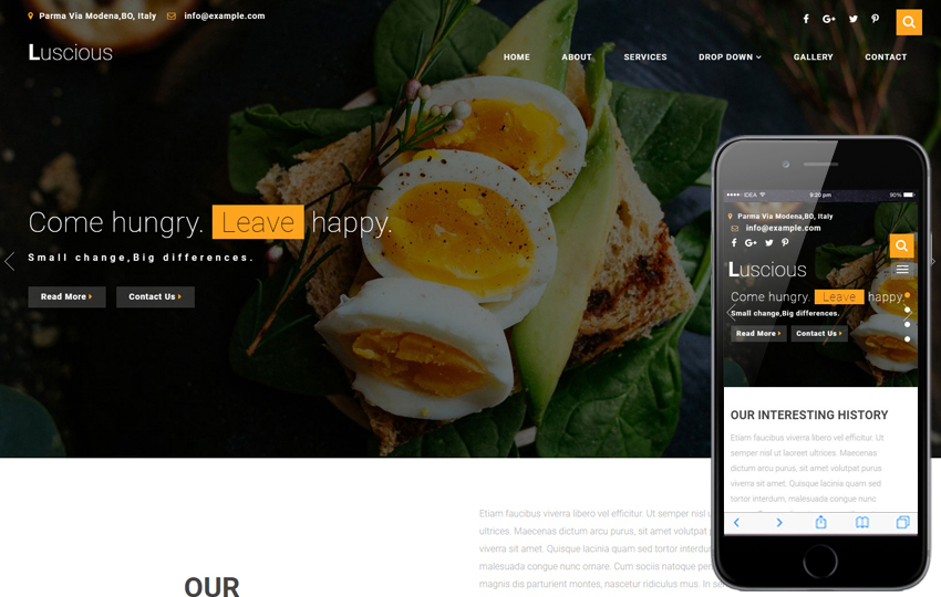 luscious restaurants category bootstrap responsive web template