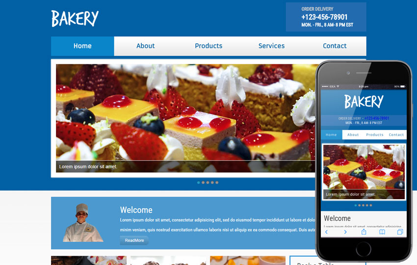 New Bakery Web and Mobile Template for Bakeries
