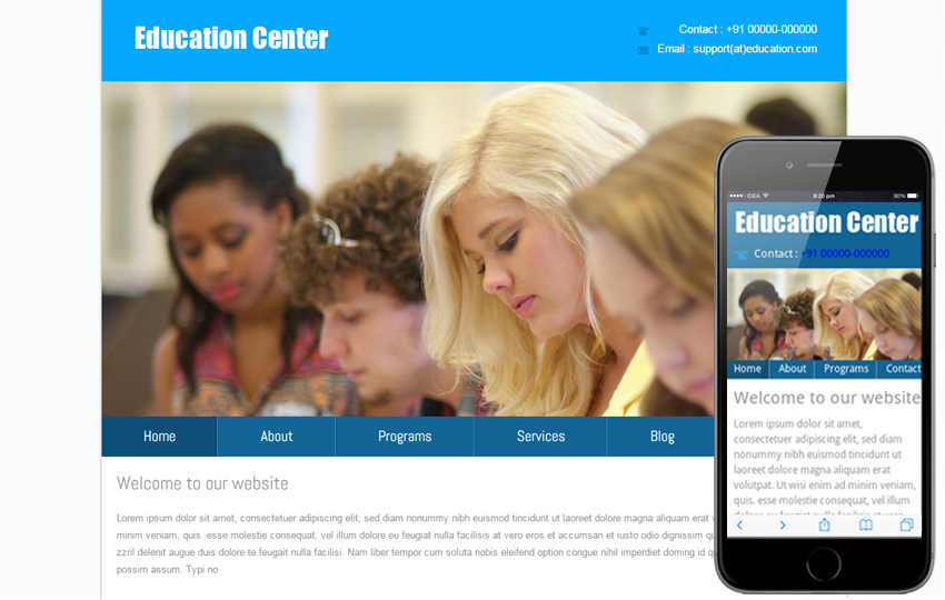 New Education Center Web and Mobile Template