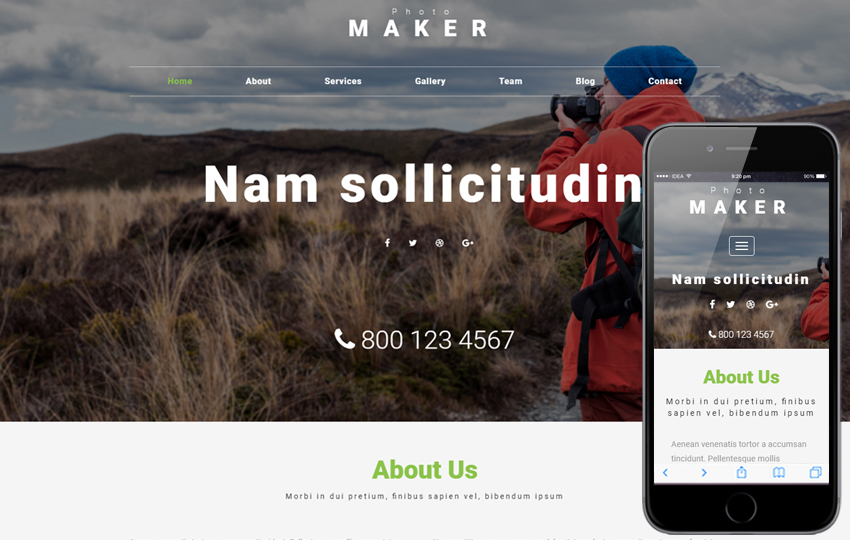 Photo Maker a Photo Gallery Bootstrap Responsive Web Template