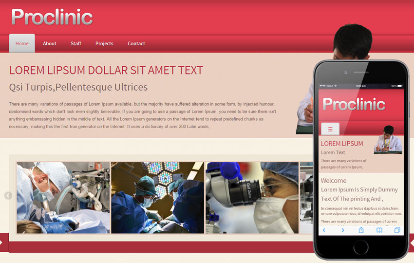 Pro Clinic Hospital Mobile Website Template