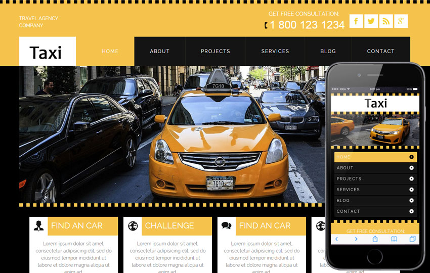 Taxi a Taxi Services Mobile Website Template