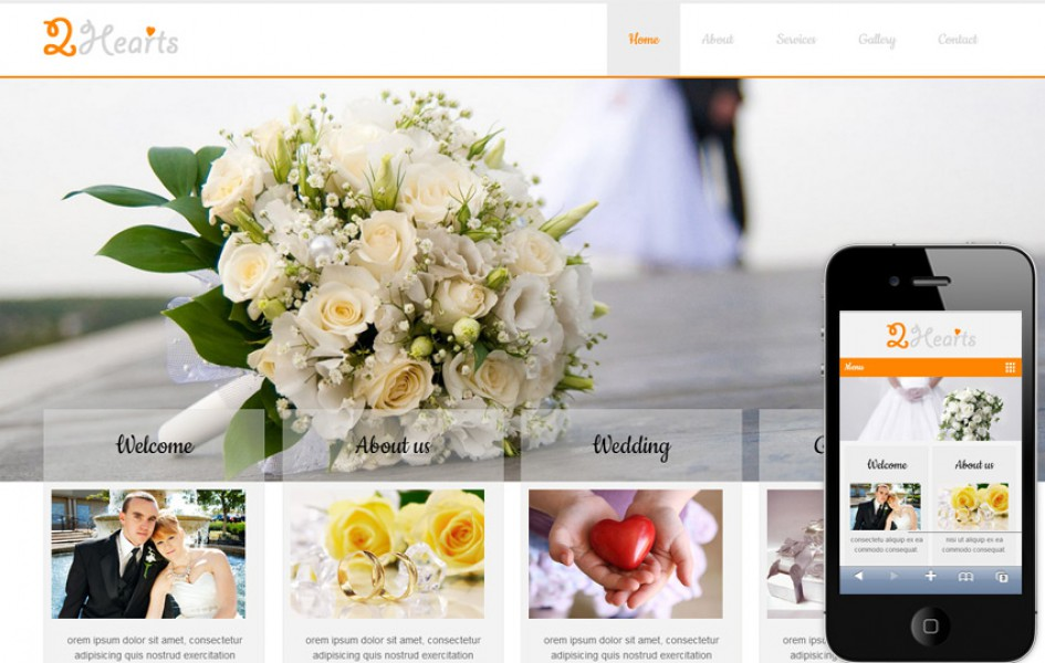 2 Hearts A Wedding Planner Mobile Website Template