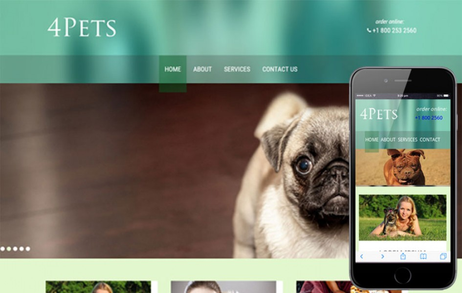 4 Pets Animals Mobile Website Template