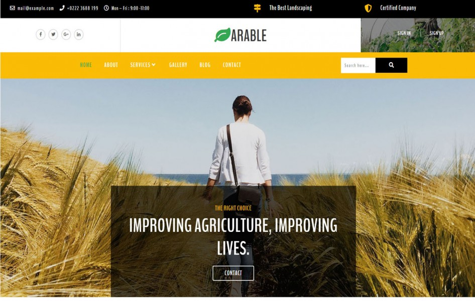 Arable Agriculture Category Bootstrap Responsive Web Template