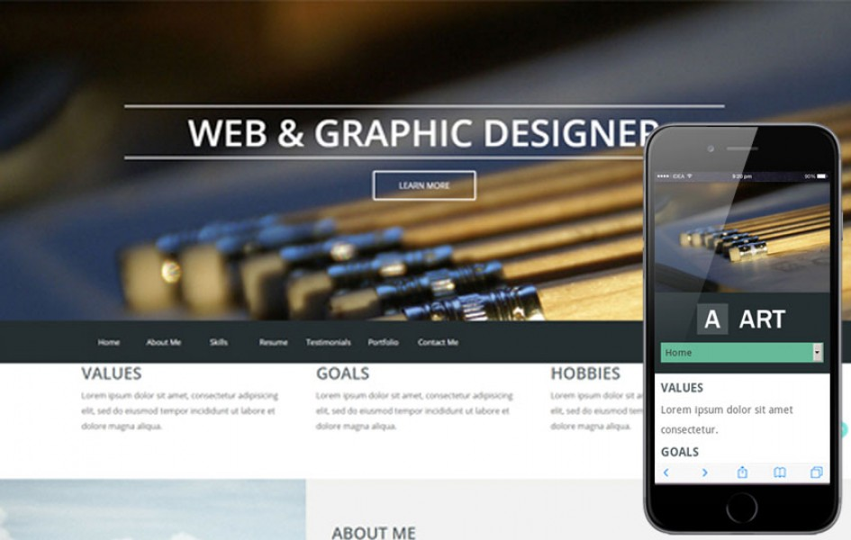 Art a Portfolio Single Page Flat Responsive Web Template