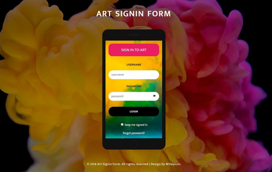 Art Sign in Form Flat Responsive Widget Template