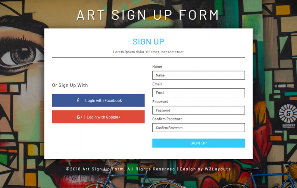 Art Signup Form Flat Responsive Widget Template