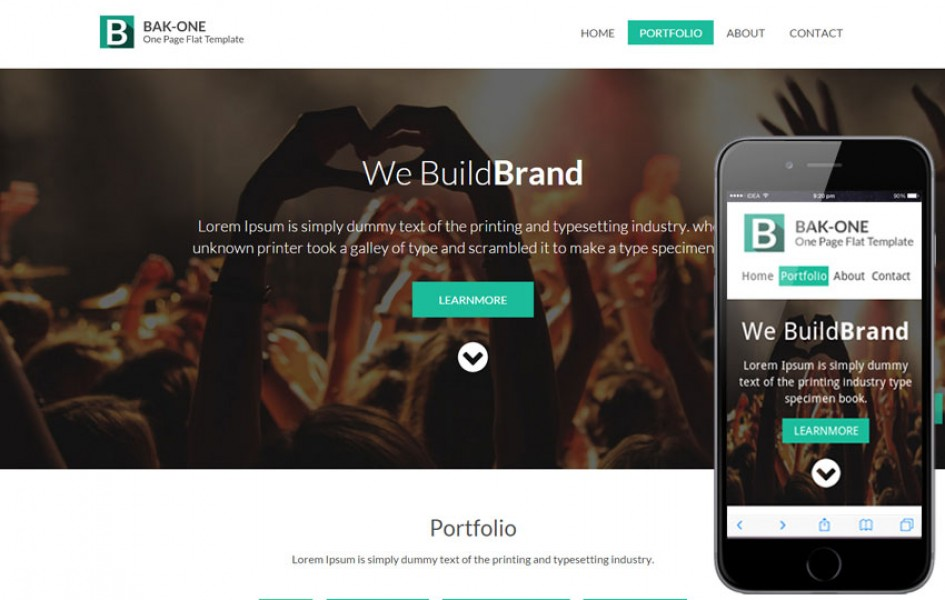 Bak One - A single Page Flat Corporate Responsive Web Template