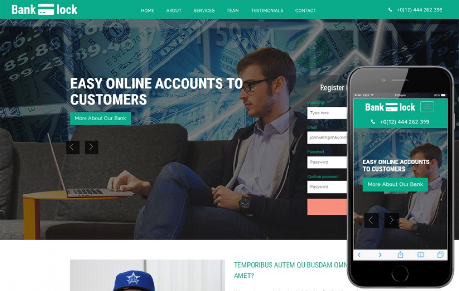 Bank Lock Banking Category Bootstrap Responsive Web Template