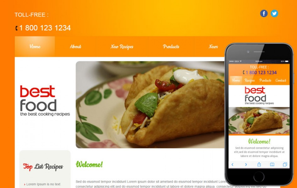 Best Food and Drinks Mobile Website Template