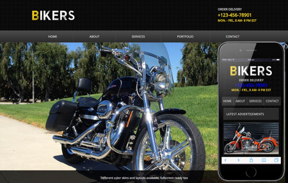 Bikers Web and Mobile Template for Free