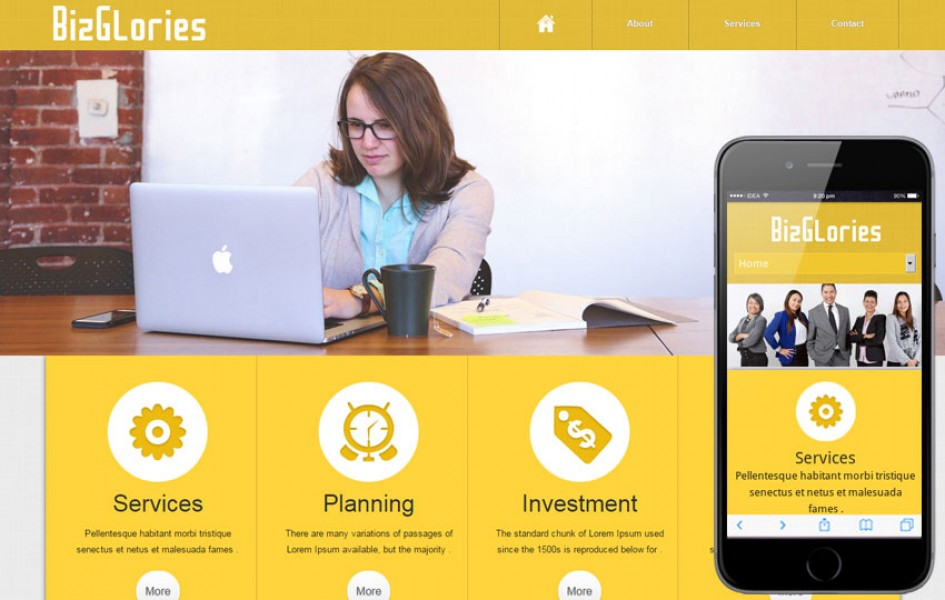 Biz Glories Web and Mobile Template for Free