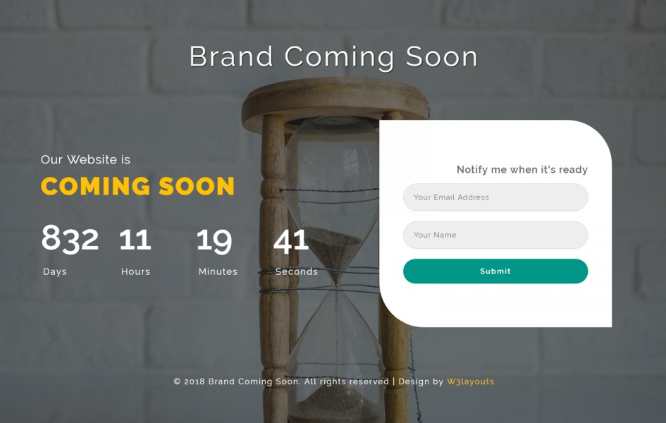 Brand Coming Soon Flat Responsive Widget Template