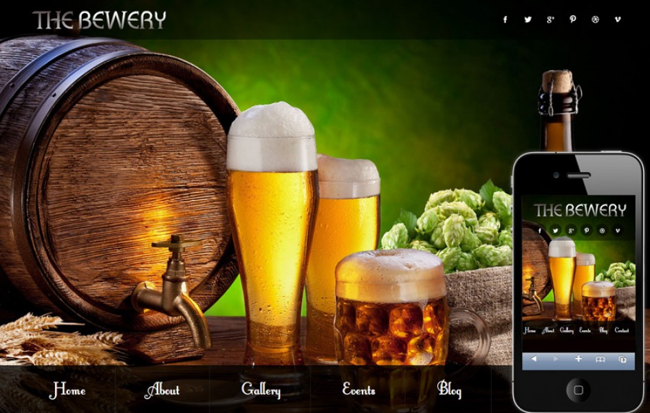 Brewery Food & Drinks Mobile Website Template