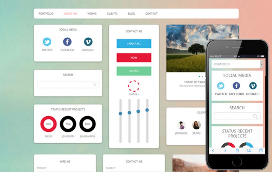 Brighty UI Kit Flat Responsive Web Template