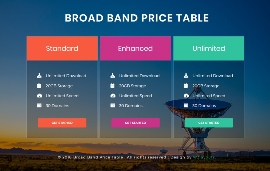 Broad Band Pricing Table Responsive Widget Template