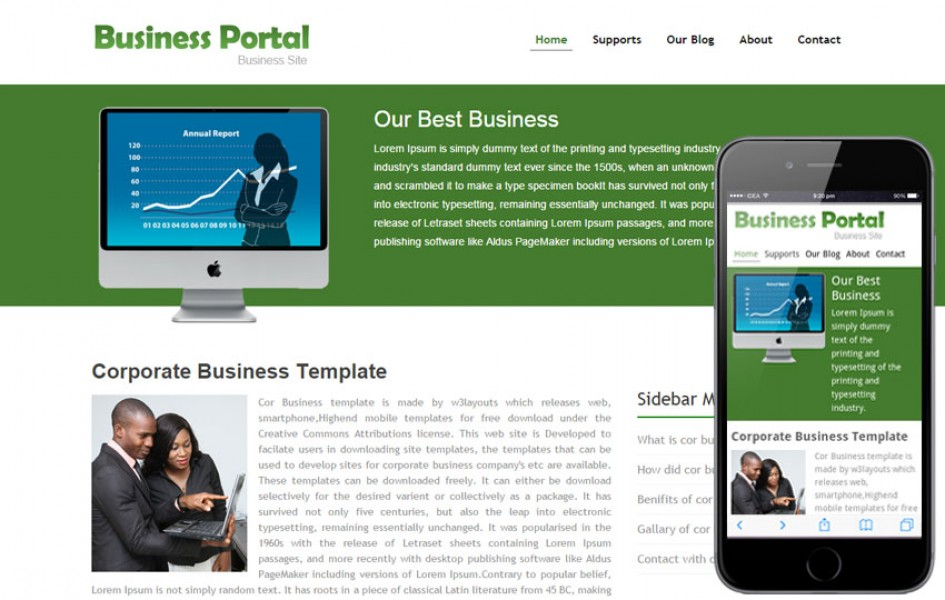 Business portal website template and Mobile Template for Free