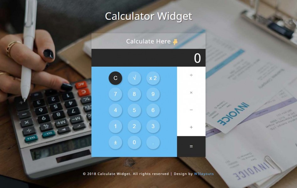 Calculator Widget Flat Responsive Widget Template