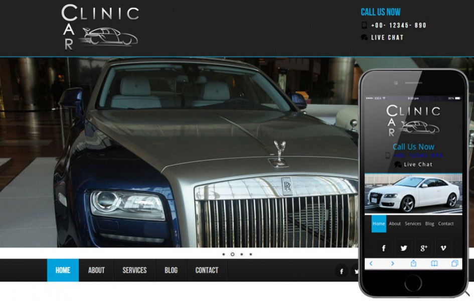 Car Clinic Automobile Mobile Website Template