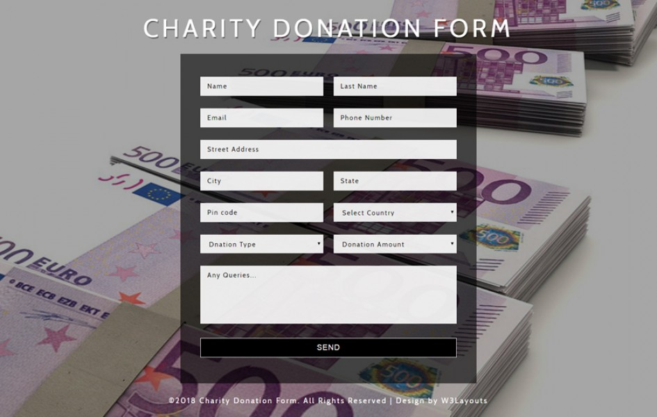 Charity Donation Form Flat Responsive Widget Template