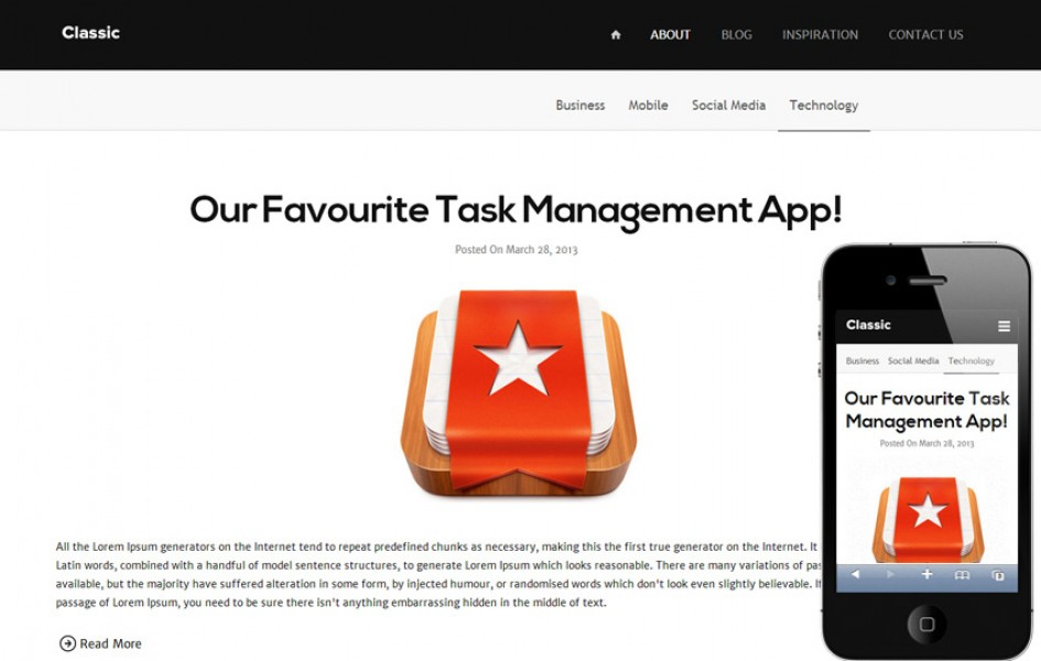 Classic Blog Responsive Mobile Website Template