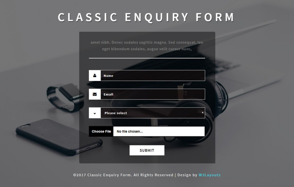 Classic Enquiry Form a Flat Responsive Widget Template
