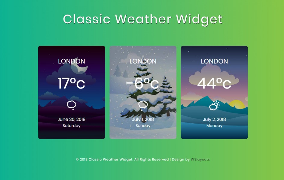 Classic Weather Widget Flat Responsive Widget Template
