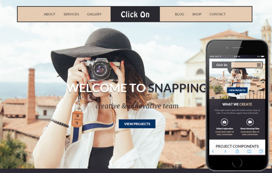 Click On a Photographer Portfolio Flat Bootstrap Responsive Web Template