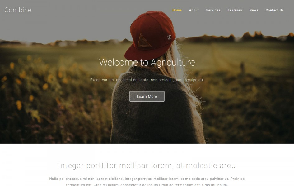 Combine an Agriculture Category Bootstrap Responsive Web Template