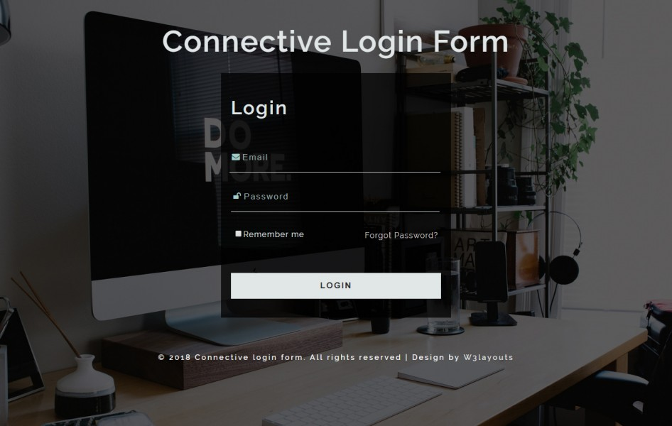 Connective Login Form Responsive Widget Template