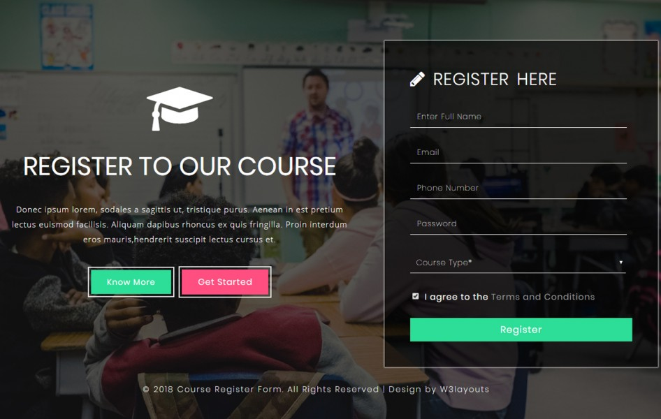 Course Register Form a Flat Responsive Widget Template