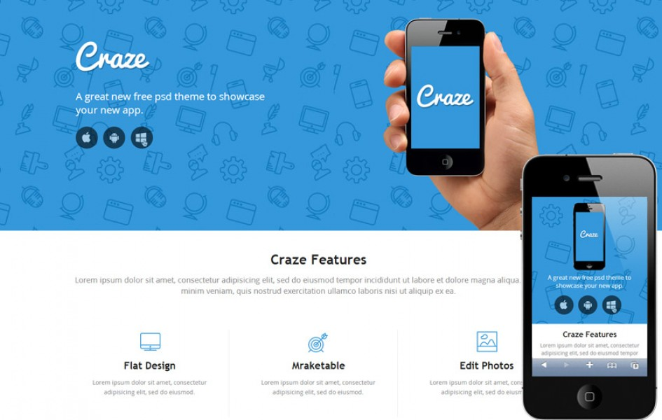 Craze Single Page Responsive Web Template
