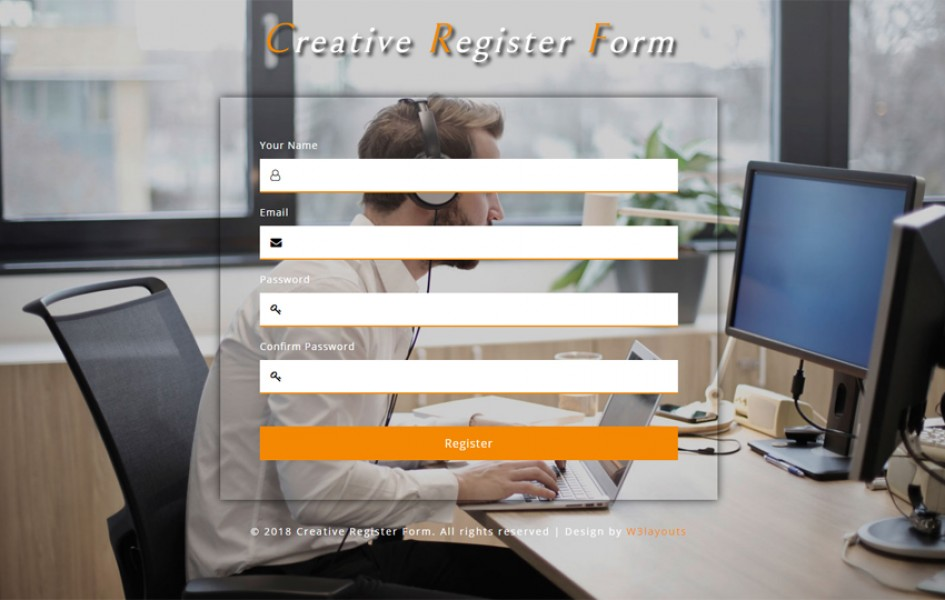 Creative Register Form Responsive Widget Template