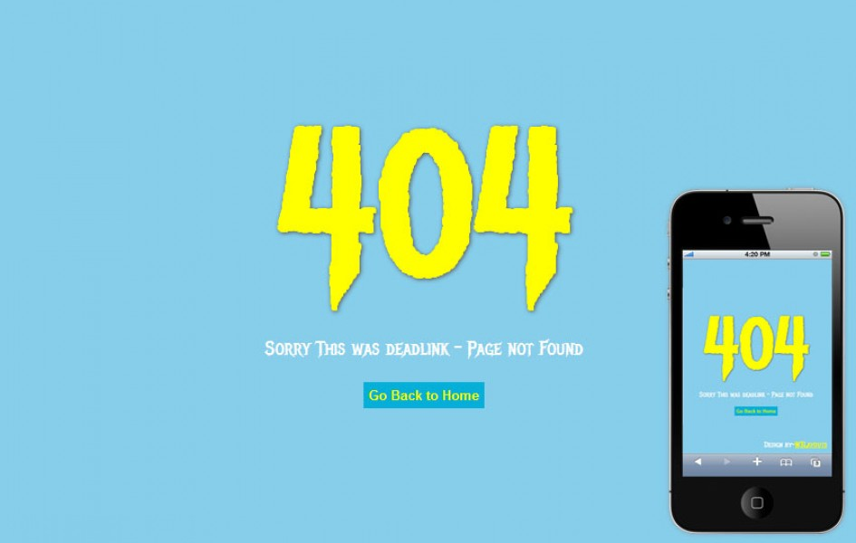 Deadlink 404 Page Not found Mobile web Template