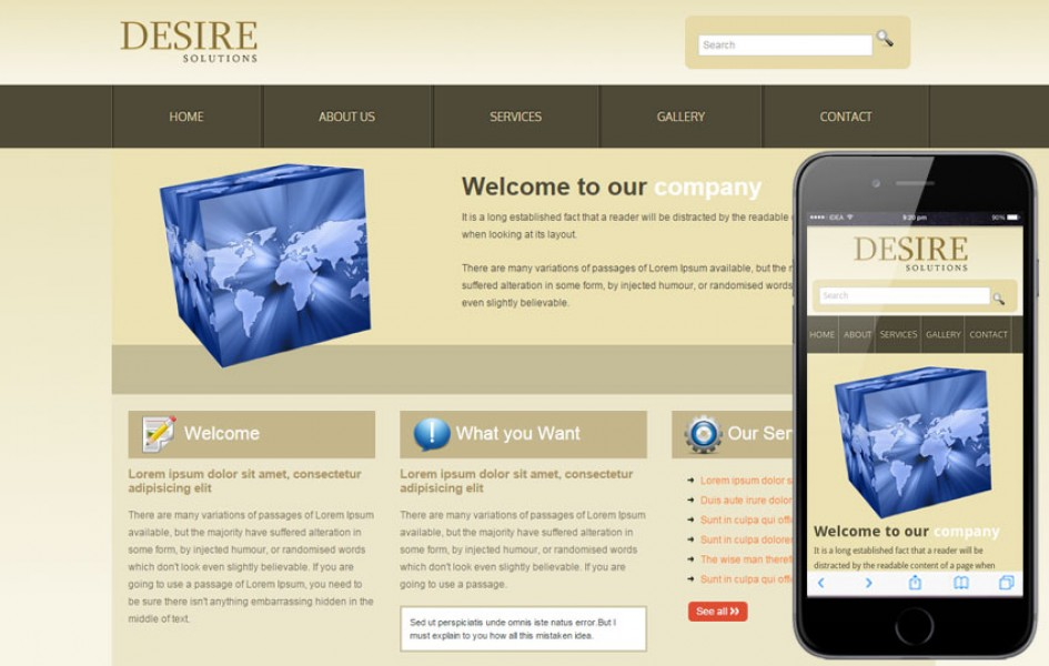 Desire Solutions Web and Mobile Template for Free
