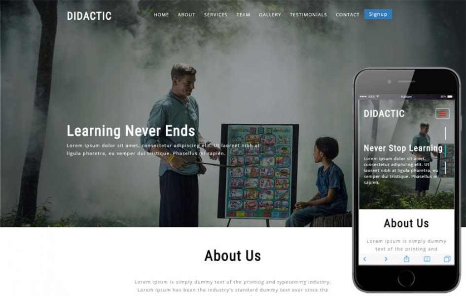 Didactic Educational Category Bootstrap Responsive Web Template