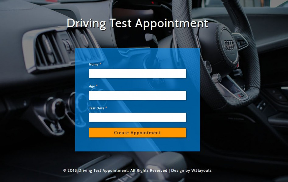 Driving Test Appointment Widget Flat Responsive Widget Template