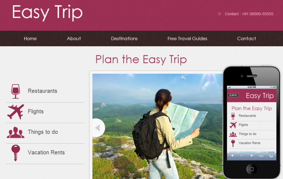 Easy Trip Web and Mobile Template for Free