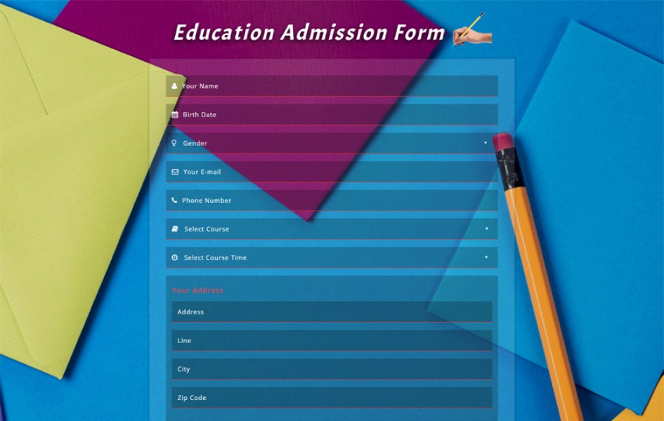 Education Admission Form Responsive Widget Template