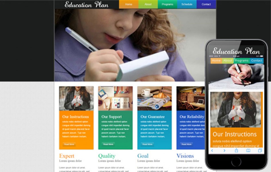 Education Plan Web Template and Mobile Template