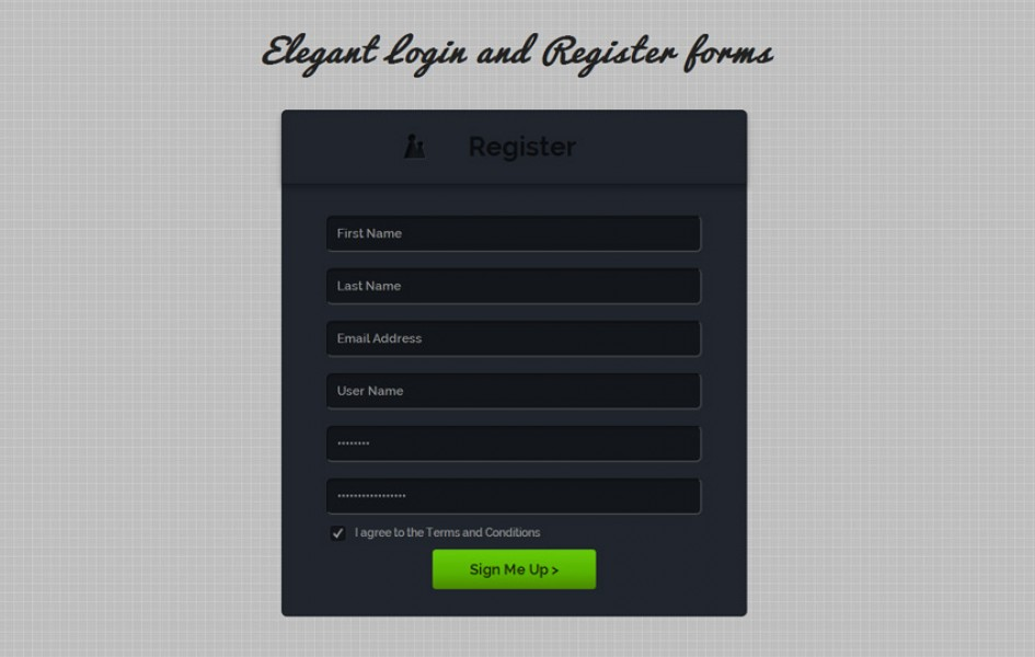 Elegant Login and Register Forms Web Template