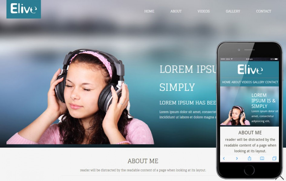 Elive Personal Portfolio Mobile Website Template