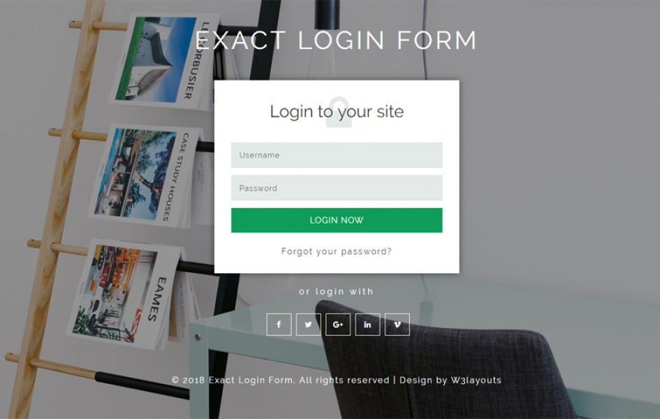 Exact Login Form Flat Responsive Widget Template