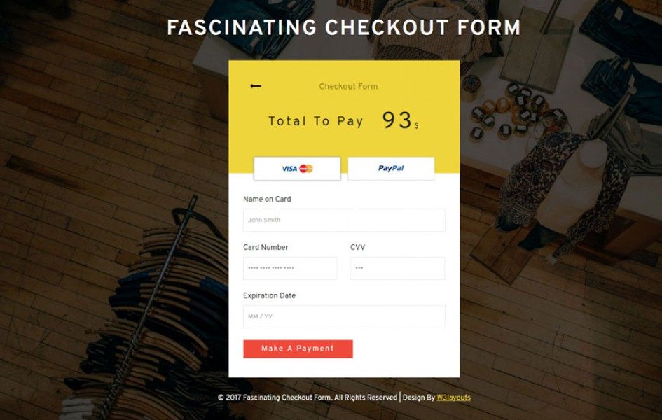 Fascinating Checkout Form Flat Responsive Widget Template